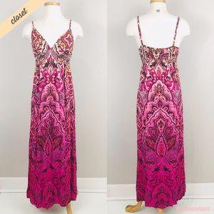 [Lucky Brand] Pink Floral Print V-Neck Maxi Dress